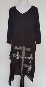 TS-TAKING-SHAPE-Black-Stretch-Mesh-Tunic-Dress-Size-S