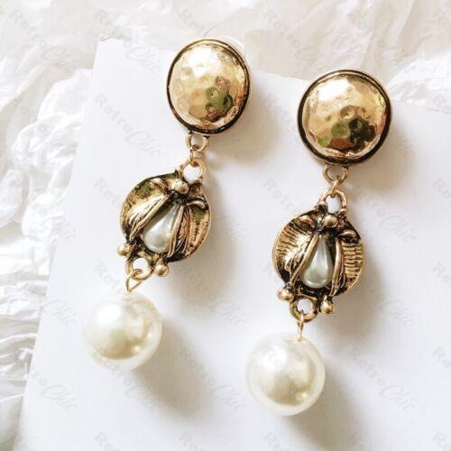"Retro Grande Perla 3/"" pendientes largos Vintage Chic Tono Oro Antiguo Art Deco Revival"