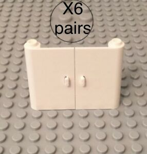 Lego-X6-Pairs-White-1x3x4-Doors-With-Open-Stud-Between-Top-And-Bottom-Hinge