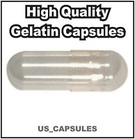 2000 Empty Gelatin Capsules Size 00 (kosher) Gel Caps Pill Color - Clear