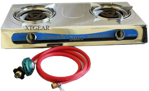 DOUBLE HEAD PORTABLE PROPANE GAS STOVE DOUBLE BURNER OUTDOOR CAMPING
