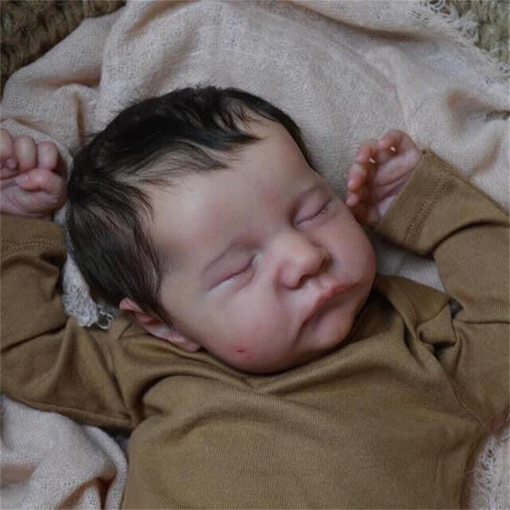 lifelike sleeping reborn baby dolls handmade newborn baby black hair soft 48cm