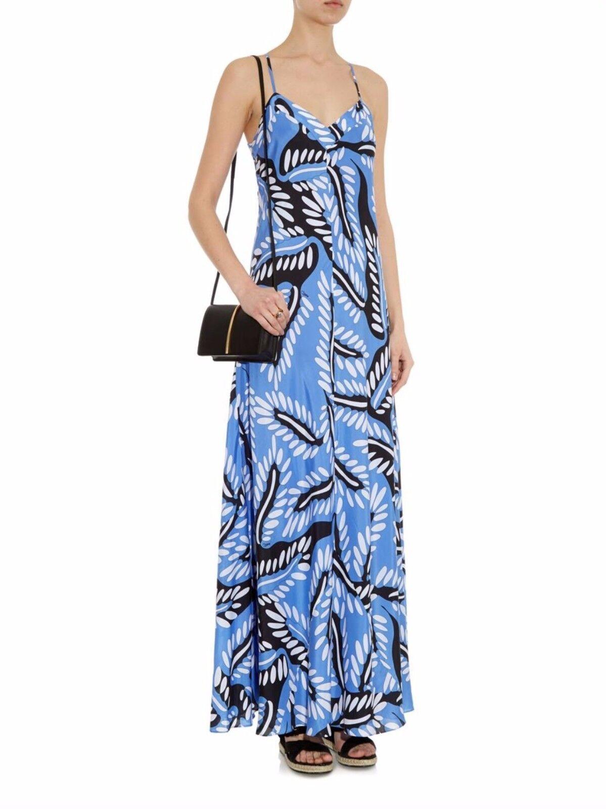 Diane von Furstenberg Riveria Buds Print Maxi Dress, Multi-color SIZE 8  v