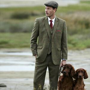 Wool Blend Olive Green Men Tweed Suit Plaid Vintage Tuxedo Prom Hunting Suit