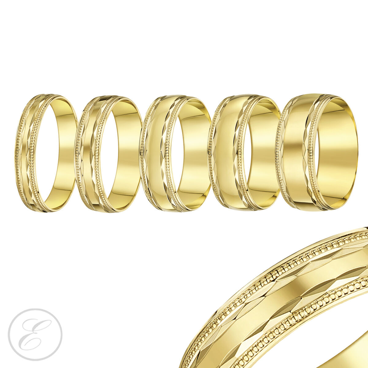 18 Ct Anillo gold yellow Cuenta Diamante Cortar Borde Ligero Forma De D Alianza