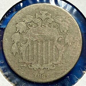 1882 5C Shield Nickel, Without Rays (55704)