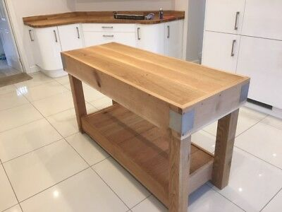 Oak Butchers Block Kitchen Island Rustic Reclaimed Made From Solid English Oak Ebay