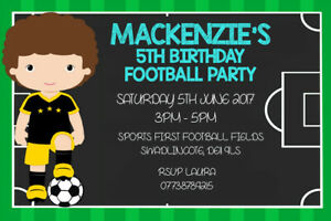 Girls Birthday Party Invite including envelopes FB1 Personalised Football Boys