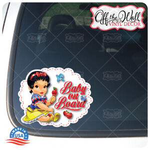 Baby-Snow-White-034-BABY-ON-BOARD-034-Awareness-Warning-Sign-Vinyl-Sticker-for-Cars