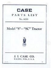 Case Model S Sc Tractor Parts Catalog Manual
