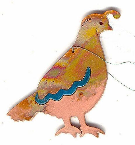 COPPERCUTTS Quail Ornament SouthWest Copper with Choice of Primary Color!