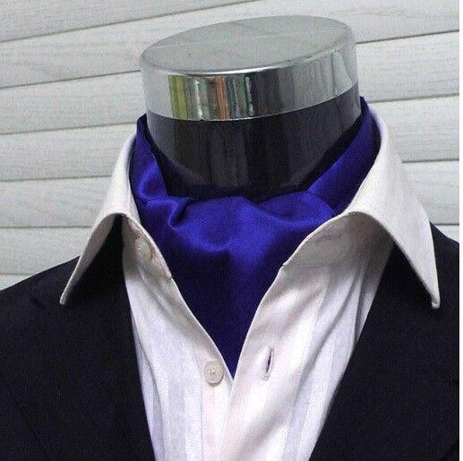 Men Wedding Formal Cravat Ascot Scrunch Ruche Self Neck Tie Solid Royal Blue