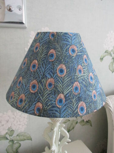 Handmade Coolie Lampshade  25cm Blue Peacock Feather Fabric