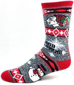 Chicago-Blackhawks-Hockey-Gray-Snowman-Snowflake-Crew-Socks