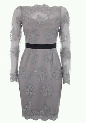 BNWT Lipsy VIP elegant grey and black lace shift/pencil dress size 14. sold out
