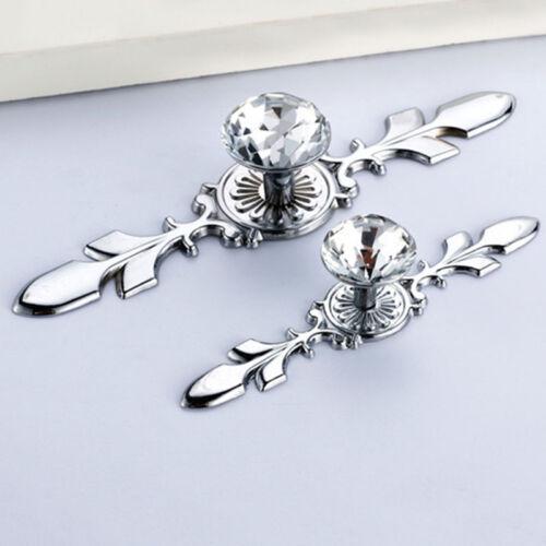 Modern Glass Diamond Crystal Knobs Drawer Wardrobe Pull Handle Bar Cabinet Door