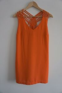 Portmans-Size-10-Coral-Orange-Shift-Dress-With-Gorgeous-Strap-Detail