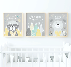 Woodland-Animals-Nursery-Prints-Woodland-Animal-Prints-Yellow-And-Grey-Nursery