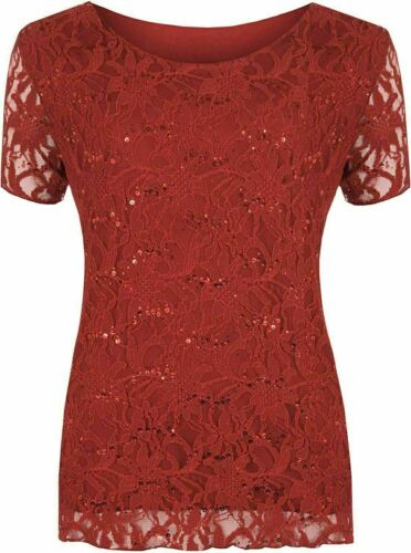 Women Floral Lace Lined Sequin Top Ladies Short Sleeve Round Neck Party Wear Top
