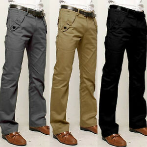 Mens-Straight-Leg-Work-Cargo-Pants-Slim-Fit-Formal-Dress-Trousers-Business-Pants