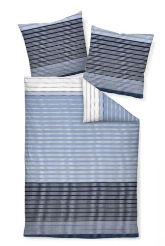 Janine Bettwäsche Set J.D 87020-02 blau weiß  Linien Streifen Mako-Satin