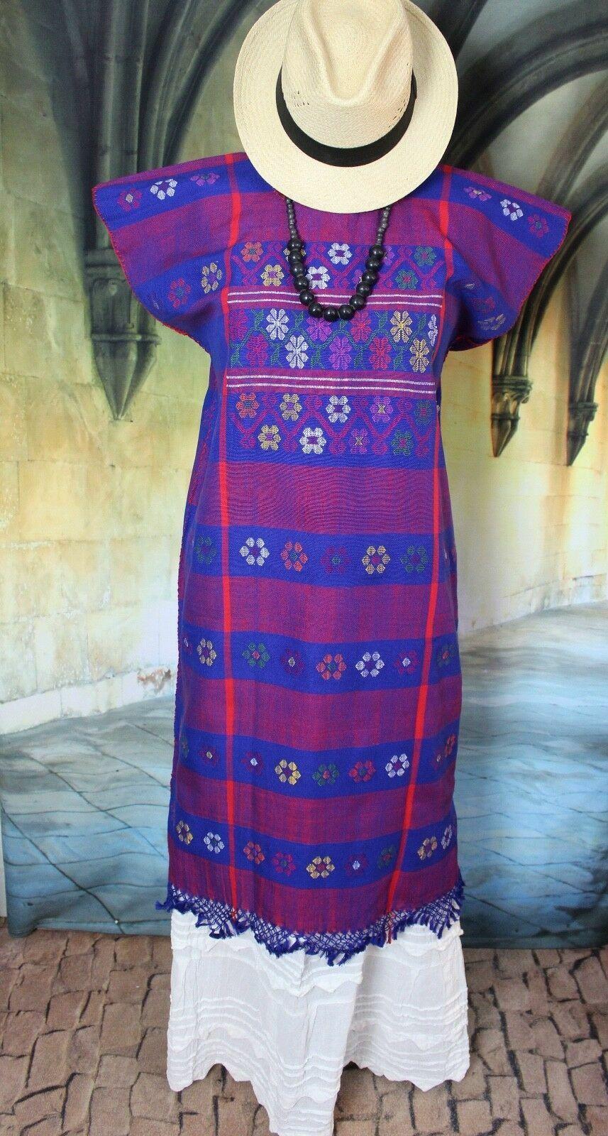 M L Mexican Huipil Dress Kaftan Hand Woven Blau & rot Amuzgo Vintage Style Boho
