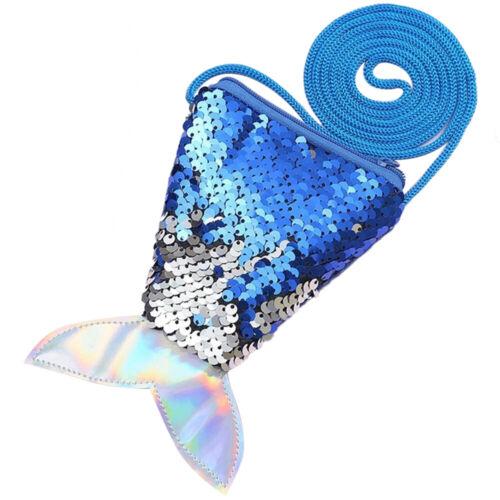 Girls Kids Sequins Coin Bag Wallet Mermaid Fish Tail Children Zipper Coin Purses