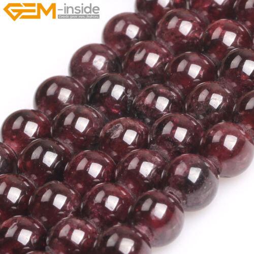 Al por mayor Natural Genuino Granate Rojo Oscuro Redondo Cuentas Sueltas De Joyería 6-10mm
