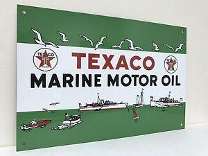 Texaco Marine Motor Oil Tole Publicitaire Huile Gaz Essence Reproduction-afficher Le Titre D'origine Scgo1bkn-07235413-701731374
