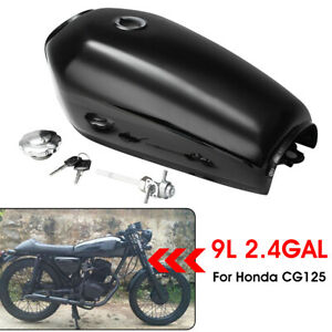 Motorcycle-9L-2-4-Gallon-Fuel-Gas-Tank-W-Tap-Key-For-Honda-CG125-Cafe-Racer