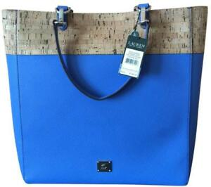 Ralph Lauren Hanway Cork Leather Shopper Tote In Lighthouse Blue NWT ... 2080cb9e07