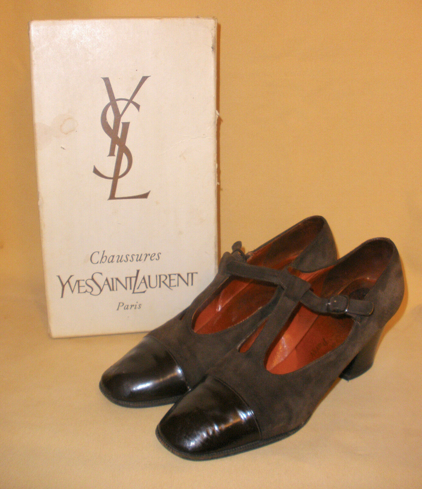 Vintage YSL T Strap Mary Jane Heels Magali Design Brown Suede & Leather 7.5 AA