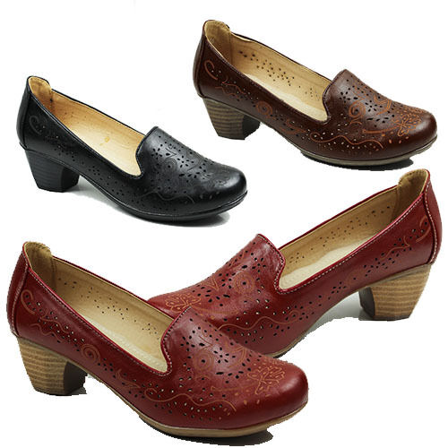 WOMENS CASUAL WORK OFFICE CUBAN HEEL SLIP ON COURT 3-8 LADIES SHOES PUMPS SIZE 3-8 COURT 600fe5