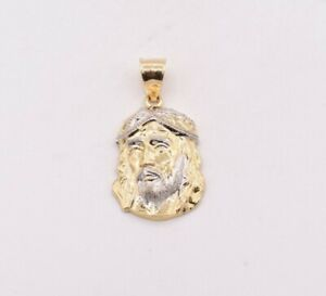 1-1-4-034-Jesus-Head-Charm-Pendant-Real-Solid-10K-Yellow-White-Gold