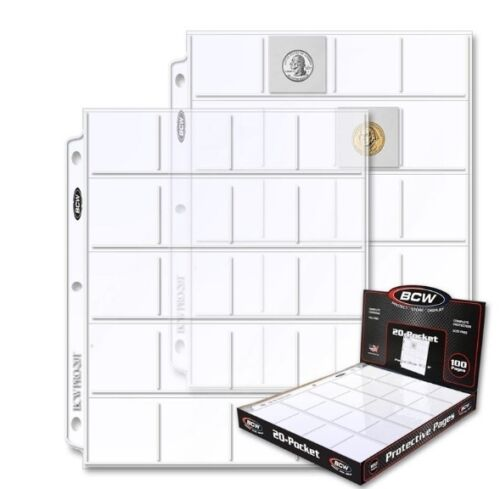 """5 BCW PRO 20-POCKET PAGES FOR 2/"""" BY 2/"""" CARDBOARD FLIPS SLIDES POGS COINS COUPON"""