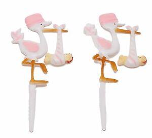 Image Is Loading 12 Plastic Pink Stork Baby Shower Favors Appliques