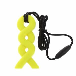 Twist-Sensory-Chew-Silicone-Necklace-Pendant-BPA-Free-Autism-ADHD-UKSeller-Yello