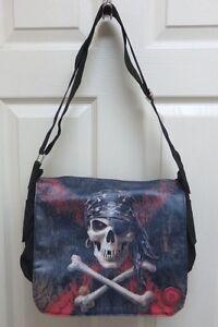 "Anne Stokes Fantasy Art ""Pirate Skull"" Messenger Bag by Nemesis Now NWT"