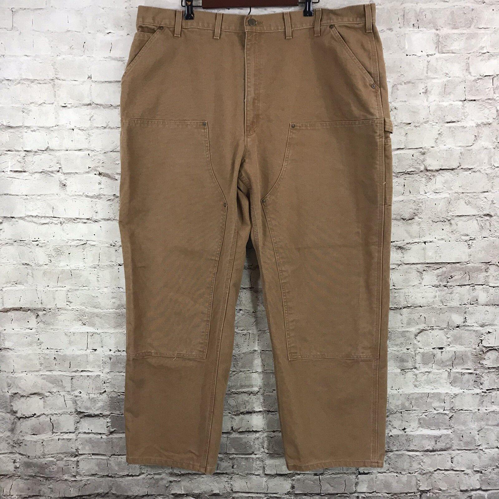 Carhartt Mens Carpenter Double Front Canvas Brown Work Pants 46 x 32 -RN 14806