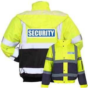 Yellow-Navy-Reflective-Security-Hi-Vis-Bomber-Jacket-Printed-Work-Coat-High-Viz