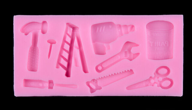 Tools Silicone Cake Fondant Mold Topper Hammer Spanner Baking Mould Decorating