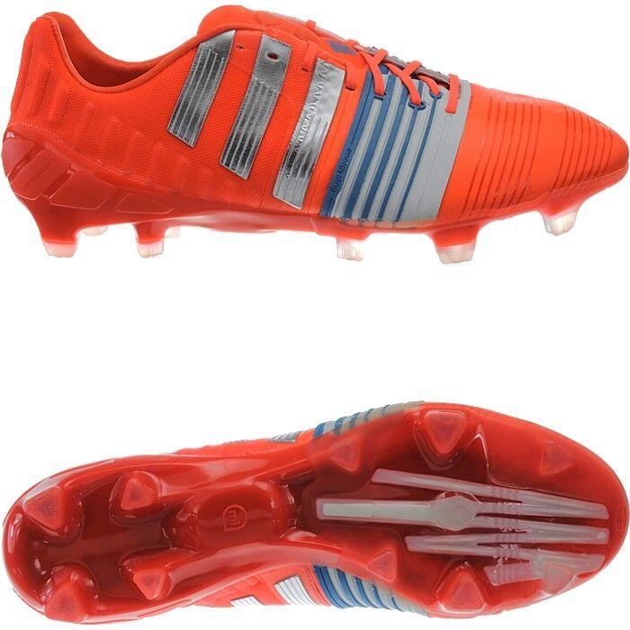 Adidas Nitrocharge 1.0 FG para Hombre botas De Fútbol Rojo Plata blancoo Fg-Tacos Nuevo