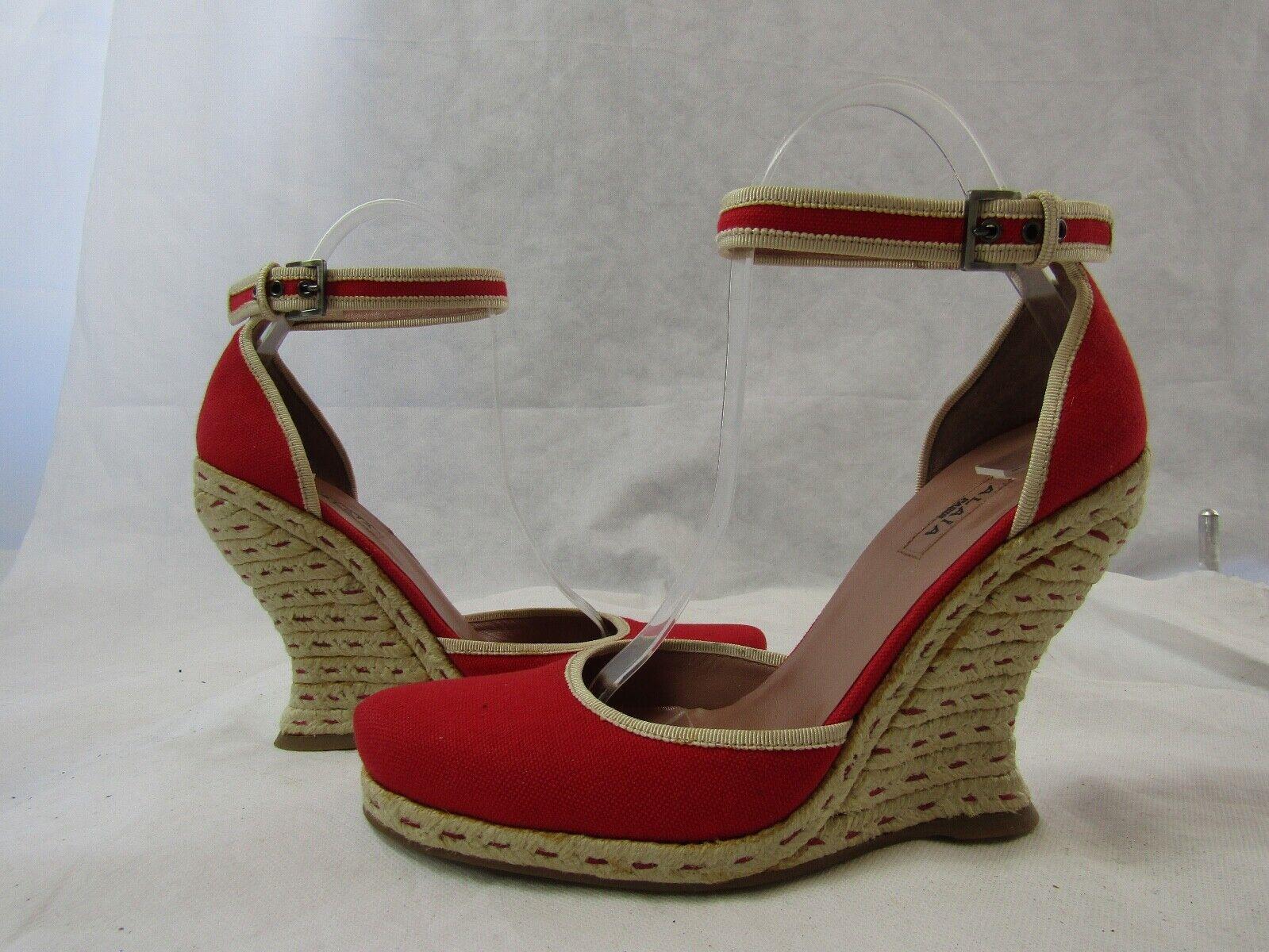 Azzedine Alaia Red Espadrille Wedge Size 37.5 Ret… - image 5