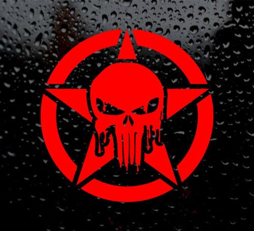 XL BLOODY PUNISHER STAR DECAL LOGO FOR CAR//VAN//LAPTOP VINYL STICKER ARMY