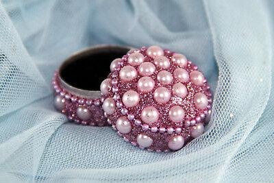 Schmuckdöschen Schmuckdose Dose in rosa mit Perlen 3,5 x 2,5