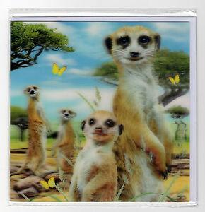 3D lenticulaire Carte de vœux Suricates Mob Jungle Scène Taille 16 X 16 Cm Aprox-afficher le titre d`origine jBscQE4K-07200556-565565214