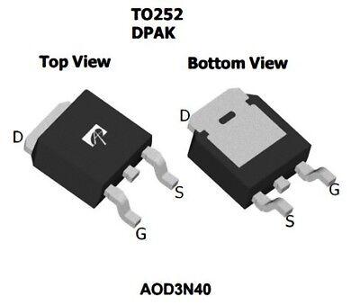 1 pezzo AOD3N40 MOSFET N-Channel 400V 2.6A 3N40 D3N40