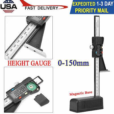 0-150mm  Digital Display Height Gauge Depth Measure Tool Magnetic Base