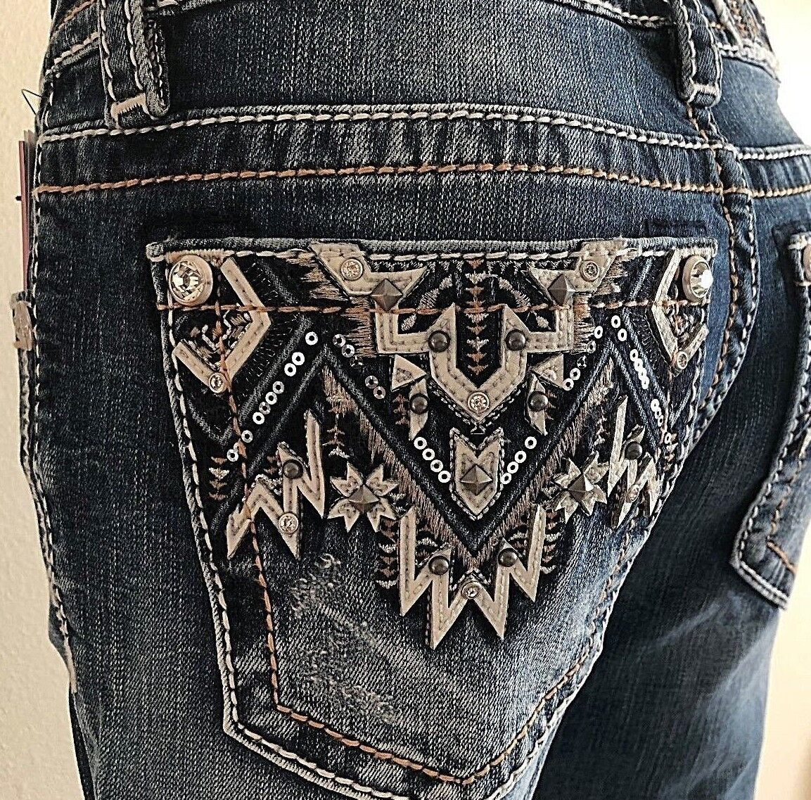 NEW MISS ME JEANS WITH TAG M3178B BOOT CUT MID-RISE INSEAM 34