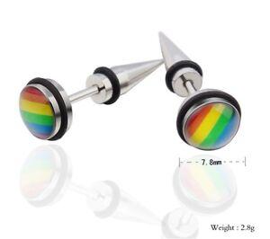 Ohrringe-Ohrstecker-Les-Regenbogen-Schwule-Gay-Edelstahl-LGBT